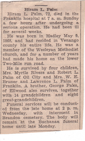 Hiram Palm Obituary